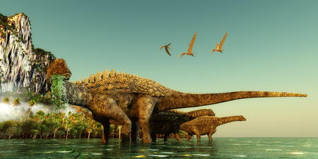 Ampelosaurus Dinosaurs - Ampelosaurus dinosaurs wade out into the water to eat underwater vegetation in the Cretaceous Period.