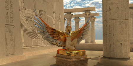 Egyptian God Isis - An Isis statue in the Temple of Isis which is part of the religion of ancient Egyptian civilization.