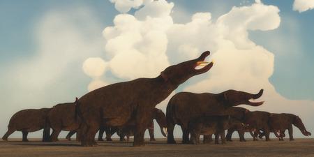 Platybelodon Herd - Una manada Platybelodon se reúnen en las llanuras de África para migrar a una mejor área de pastoreo en la era del Mioceno.