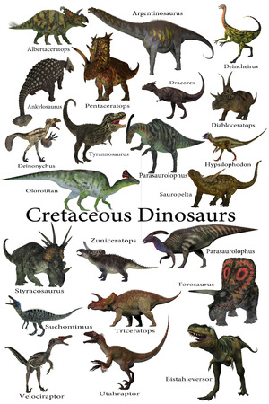 deinonychus: Cretaceous Dinosaurs - A collection of various dinosaurs that lived around the world during the Cretaceous Period. Stock Photo