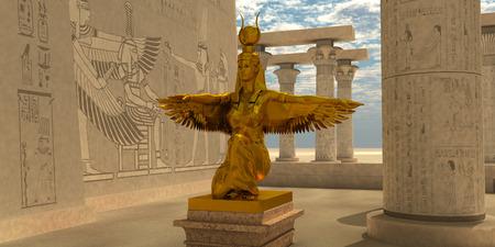 Egyptische Isis Statue - Een standbeeld van Isis in de tempel van Isis, die deel uitmaakt van de religie van de oude Egyptische beschaving.