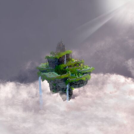 realm: Castle in the Clouds - A fantasy realm of a castle with terraces floating in the clouds in a fairytale kingdom.