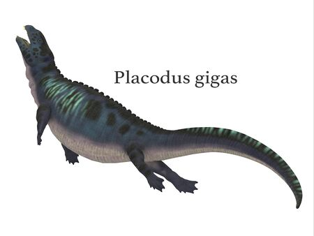 Placodus Dinosaur with Font - Placodus was a marine reptile that swam in the shallow seas of the Triassic Period in Europe and China.