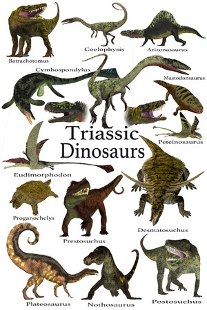 Triassic Dinosaurs - A collection of various dinosaur and marine animals that lived during the Triassic Period of Earths history.