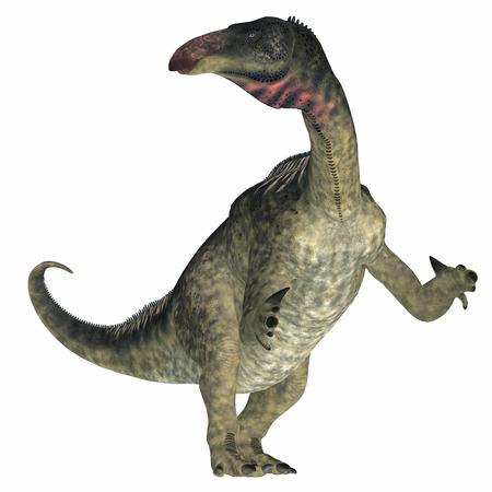 lived: Lurdusaurus Dinosaur on White - Lurdusaurus was a herbivorous ornithopod iguanodont dinosaur that lived in Niger in the Cretaceous Period. Stock Photo
