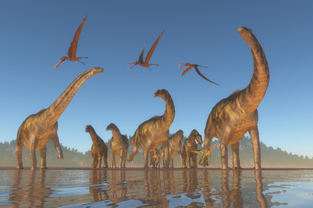 pterodactyl: Cretaceous Argentinosaurus Herd - An Argentinosaurus and Deinocheirus herd gets upset when a flock of Anhanguera reptiles fly to close to them. Stock Photo