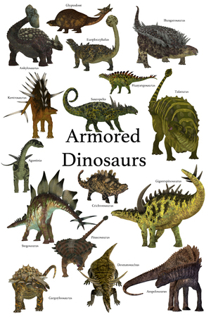 species plate: Armored Dinosaurs - A collection of various armored dinosaurs from different prehistoric periods of Earths history. Stock Photo
