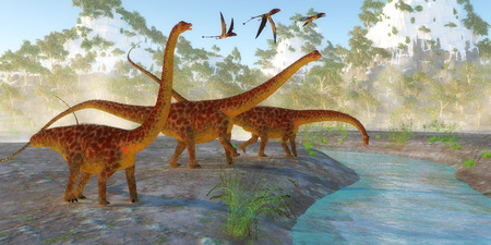 Diplodocus Dinosaur Morning - Diplodocus dinosaurs come down to a river for a morning drink as a flock of Dimorphodon reptiles fly nearby.