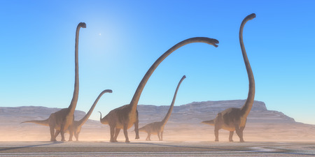 Omeisaurus Dinosaur Desert - An Omeisaurus herd walks across a dry desert in their search for vegetation and water in the Jurassic Period. Stock Photo