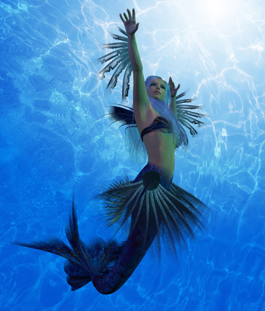 Mermaid Lorelei - A mermaid is a fantasy creature from folklore and myth that has a fish tail and a womans upper body.