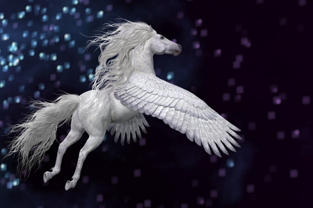 Pegasus is a mythical white divine stallion with long flowing mane and tail rises into the sky with powerful wings.