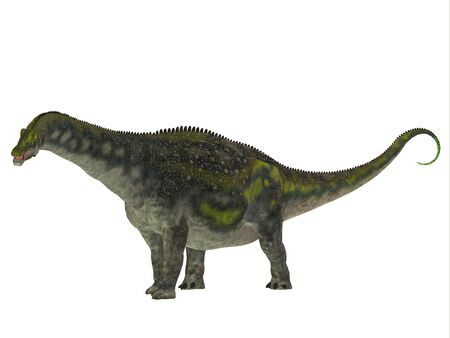sauropod: Diamantinasaurus Dinosaur Side Profile - Diamantinasaurus was a herbivorous sauropod dinosaur that lived in Australia during the Cretaceous Period. Stock Photo
