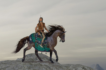 Indian Sky Feather - A North American Indian brave searches the mountains on his horse for big game to bring back to his tribe. Stock Photo