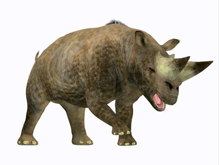 Arsinoitherium Mammal Side Profile - Arsinoitherium was a herbivorous rhinoceros-like mammal that lived in Africa in the Early Oligocene Period. Stock Photo