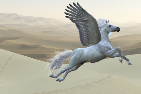 Pegasus is a mythical white divine stallion with long flowing mane and tail rises into the sky with powerful wings beats. Фото со стока