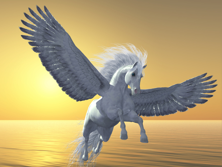 Pegasus is a mythical white divine horse with long flowing mane and tail rises into the sky with powerful wings beats. Stock Photo