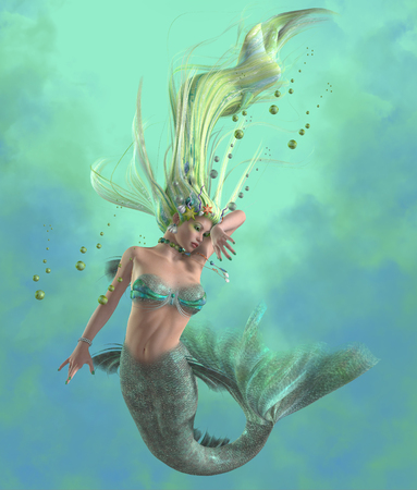 Green Mermaid - A mermaid is a mythical legendary creature composed of a beautiful woman with a fish tail. Stock Photo