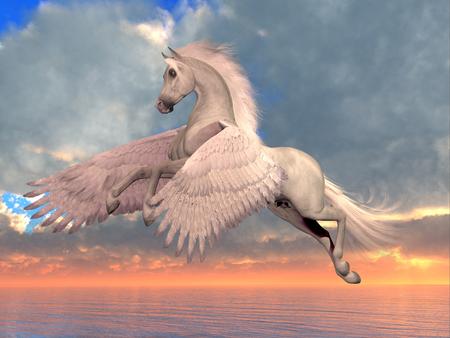 Pégase blanc Arabe Cheval - Un cheval arabe Pegasus se lève sur des ailes puissantes pour survoler l'océan par une journée ensoleillée. Banque d'images - 85074112