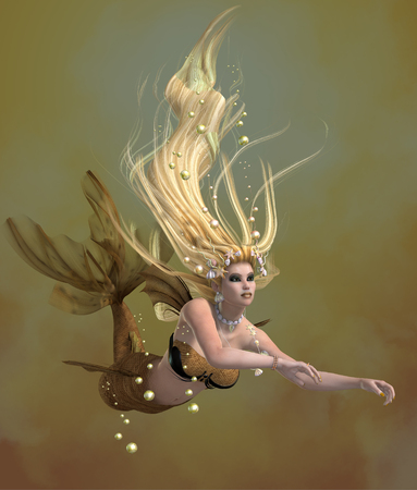 Golden Mermaid - A mermaid is a mythical legendary creature composed of a beautiful woman with a fish tail. Stock Photo