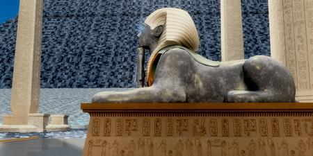 Estatua de la Esfinge egipcia: una estatua de esfinge egipcia es uno de los guardianes de la tumba del faraón en el antiguo Egipto. Foto de archivo - 85074115