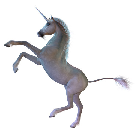 hoofs: White Unicorn - A Unicorn is a white magical horse with cloven hoofs, a forehead horn and a beard and is a creature of mythology. Stock Photo