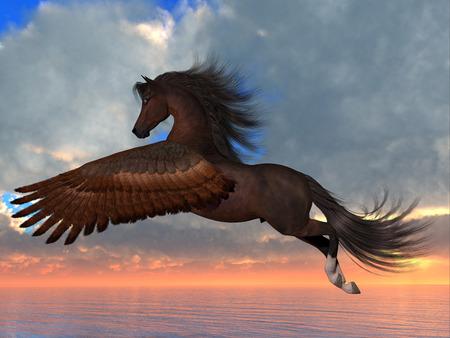 Bay Pegasus Horse - 아라비아 페가수스 말이 목적지를 향하는 도중에 강력한 날개 박동으로 바다 위로 날아갑니다. 스톡 콘텐츠