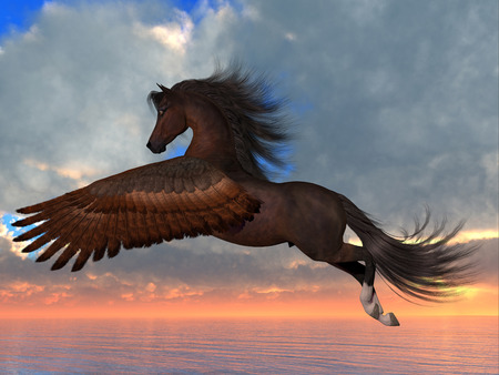 Bay Pegasus Horse - An Arabian Pegasus horse flies over the ocean with powerful wing beats on his way to his destination. Stock Photo