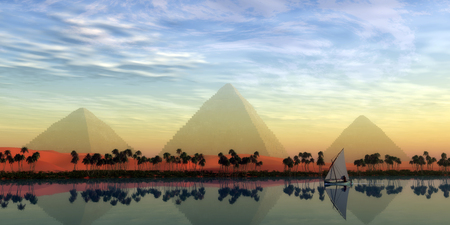 The Great Pyramids and Nile River - The Great Pyramids stand majestically over the Nile River running through the land of Egypt. Stock Photo