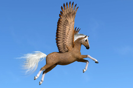 Palomino Pegasus - A palomino Pegasus flies on powerful wings on a clear spring day to his next destination.