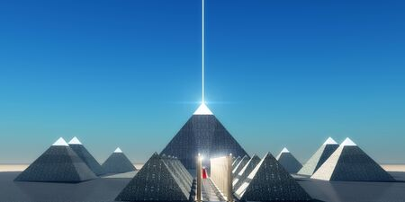 Egyptian Cosmic Pyramids - A beam of light shines from the top of an Egyptian pyramid to transport the spirit of the Pharaoh into the heavens. Stock fotó