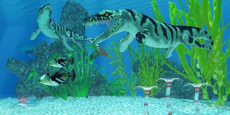 Dakosaurus Marine Habitat - Two Picasso Triggerfish swim away from the Dakosaurus marine reptiles who may threaten their existence.