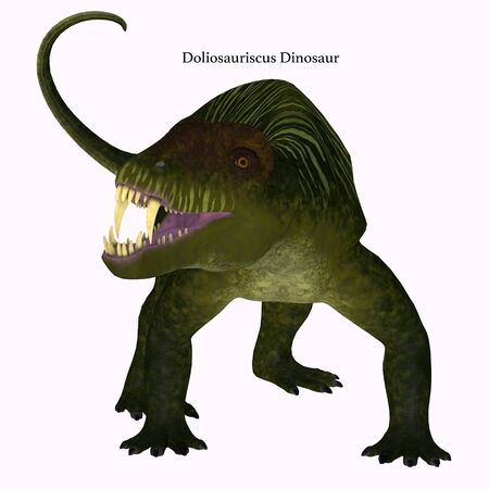 Doliosauriscus Dinosaur on White with Font - Doliosauriscus is an extinct genus of therapsid carnivorous dinosaur that lived in Russia in the Permian Period. Stock Photo