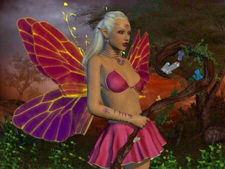 Fairy Raina - A fairy is a creature of myth and legend and has wings and magical powers in the fairytale forest. Stock Photo
