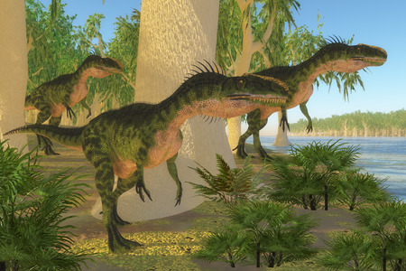 Monolophosaurus Dinosaurs - A group of Monolophosaurus dinosaurs come to a shore to drink and watch for prey in the Jurassic Period.