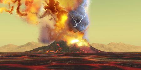 火山噴火 - 火山が煙、火と灰のバーストで噴火、溶岩の川の風景に変わります。 写真素材
