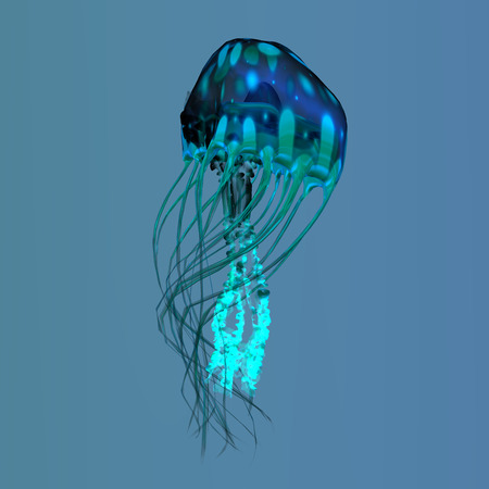 Blue Green Jellyfish - The ocean jellyfish searches for fish prey and uses its poisonous tentacles to subdue the animals it hunts. Stock Photo