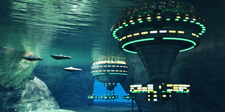 Underwater Alien Cave - Several spaceships leave an underwater alien city hidden in a coastal cave system here on Earth. 스톡 콘텐츠