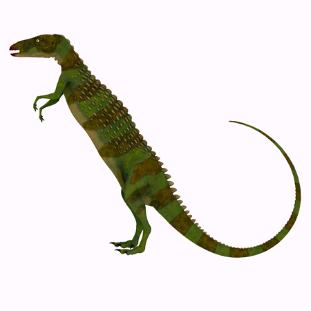 Scutellosaurus Dinosaur Side Profile - Scutellosaurus was an armored herbivore dinosaur that lived in Arizona, USA during the Jurassic Period. Stock Photo