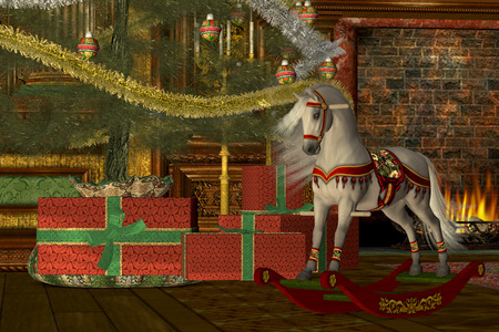 Christmas Rocking Horse - A rocking horse awaits its new rider on Christmas morning under the decorated tree in front of a Victorian fireplace.