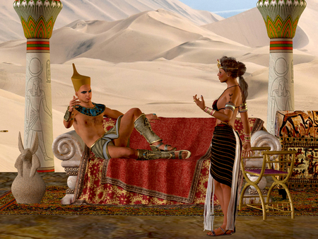 Egyptian Couple with Bench - The Egyptian Pharaoh and his wife have a discussion about everyday matters in their kingdom. Stock Photo
