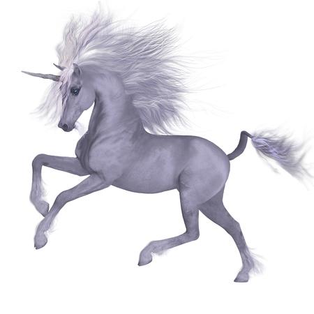 White Unicorn Prancing - A Unicorn is a mythical creature that has a white coat, cloven hooves, goat beard and forehead horn. 写真素材