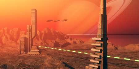 Titan Moon Habitat - Skyscrapers are part of a colony based on Saturns moon called Titan as flying saucers come in for a landing nearby.