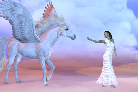 Athena Griechische Göttin und Pegasus - Athena, Tochter des griechischen Gottes Zeus, winkt dem mythischen Pegasus hoch oben in den Wolkenschichten.