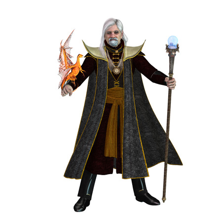 Magic Wizard on White - A magical wizard holds his golden winged pet dragon and his sorceror staff to excecute spells. Stock Photo