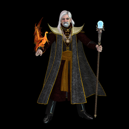 Magic Wizard on Black - A magical wizard holds his golden winged pet dragon and his sorceror staff to excecute spells. Stock Photo
