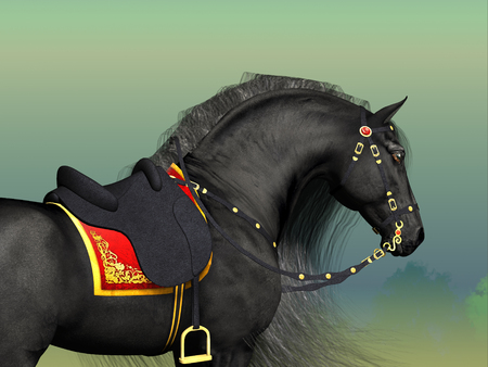 A Friesian black stallion adorned with fancy Classic saddle and bridle horse tack.