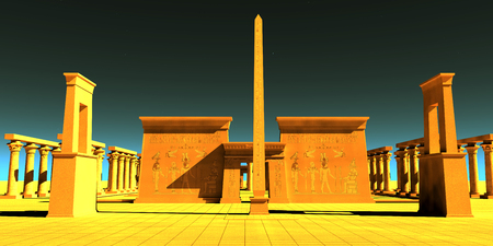 Egyptian Pharaonic Temple - A tall obelisk towers in front of a temple to honor the gods and goddesses of Egyptian culture. Banco de Imagens