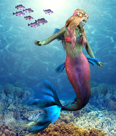 Coral Reef Mermaid - A school of Blue Rockfish swim along side of a beautiful mermaid as she glides along an ocean reef.