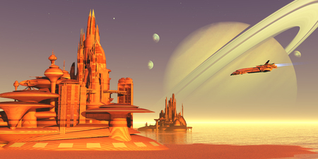 Titan Moon Environment - A colony on Titan, one of Saturns moons, expects a delivery from Earth of new personnel, food and equipment. Banco de Imagens