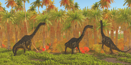 Europasaurus Dinosaurs - Europasaurus dinosaur herd munches their way through a jungle habitat in the Jurassic Period of Europe. Stok Fotoğraf